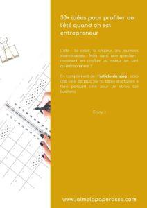 Liste de 30 idées pour un été sous le signe de l'entrepreneuriat